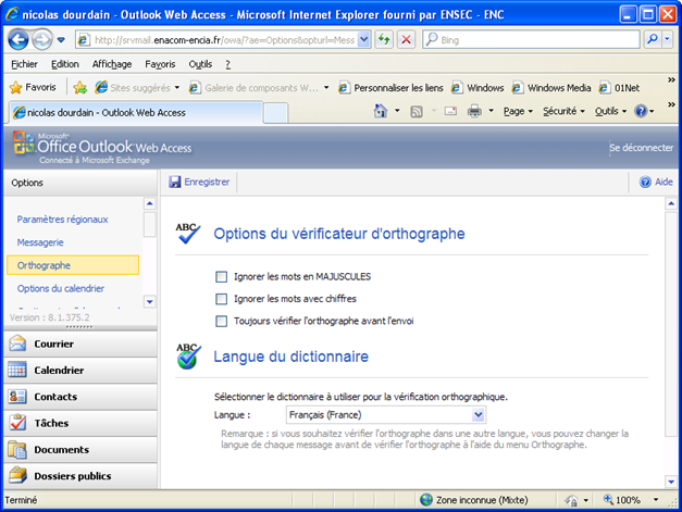 correction orthographique automatique outlook